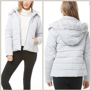 NWT light grey puffer jacket with faux fur hood